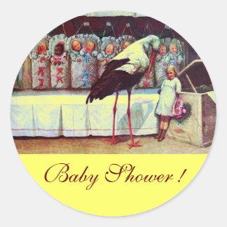 STORK BABY BOY SHOWER 3 yellow Round Stickers