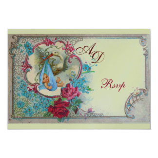 STORK BABY BOY SHOWER WITH ROSES AND BLUE FLOWERS 9 CM X 13 CM INVITATION CARD