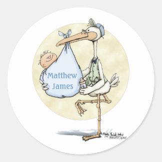 Stork - Baby Boy Stickers