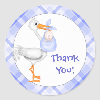 Stork & Baby Boy Thank You Classic Round Sticker