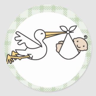 Stork Baby Delivery Round Sticker