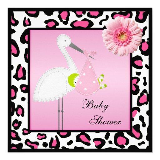 stork baby gerbera animal print baby shower 13 cm x 13 cm square