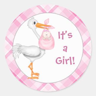 Stork & Baby Girl Baby Announcement Round Sticker