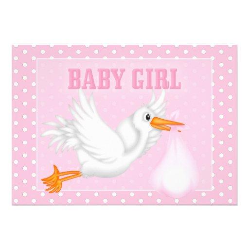 Stork baby girl shower invitation 13 cm x 18 cm invitation for Baby shower stork decoration