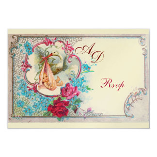 STORK BABY GIRL SHOWER PINK BLUE FLORAL MONOGRAM 9 CM X 13 CM INVITATION CARD