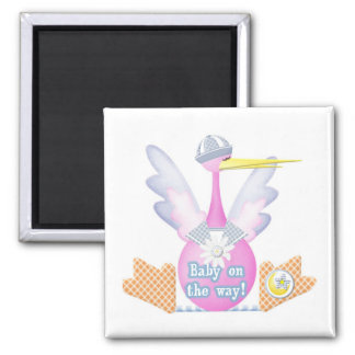Stork Baby on the Way Square Magnet