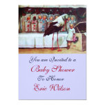 STORK BABY SHOWER 3, blue 13 Cm X 18 Cm Invitation Card