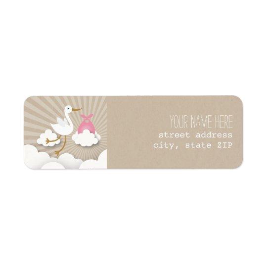 Stork Baby Shower Address Label - Pink