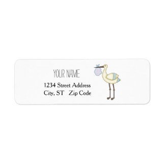 Stork Baby Shower Blue Return Address Labels