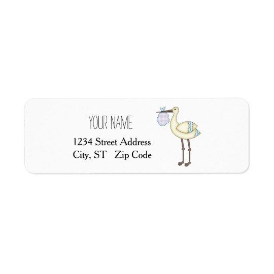 Stork Baby Shower Blue Return Address Labels