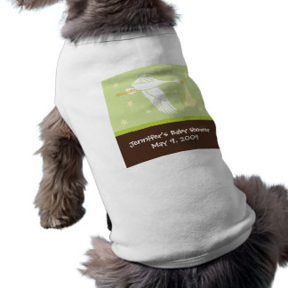 Stork Baby Shower Dog Tank - Green/Brown Shirt