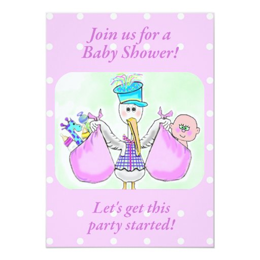 Stork Baby Shower Invitations template