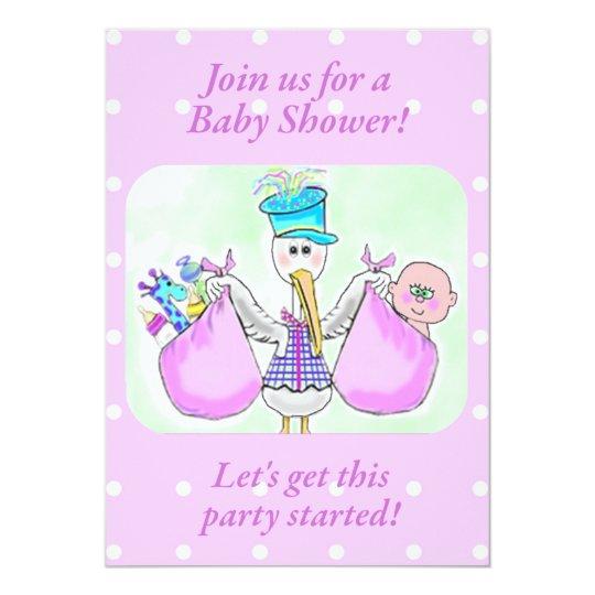 Stork Baby Shower Invitations template