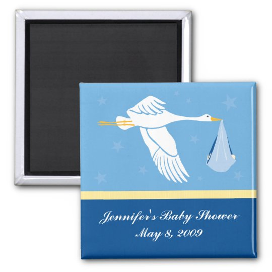 Stork Baby Shower Magnet - Blue
