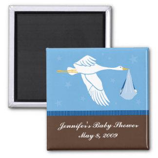 Stork Baby Shower Magnet - Blue/Brown