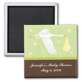 Stork Baby Shower Magnet - Green/Brown