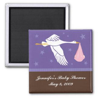 Stork Baby Shower Magnet - Purple/Brown