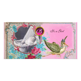STORK BABY SHOWER MONOGRAM ,ruby Picture Card