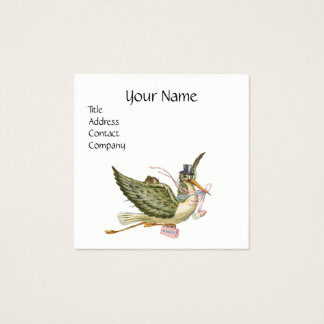 STORK BABY SHOWER Pink White Pearl Paper Square Business Card