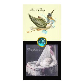 STORK BABY SHOWER SQUARE MONOGRAM aquamarine cream Picture Card