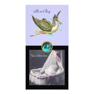 STORK BABY SHOWER SQUARE MONOGRAM ,aquamarine Customized Photo Card