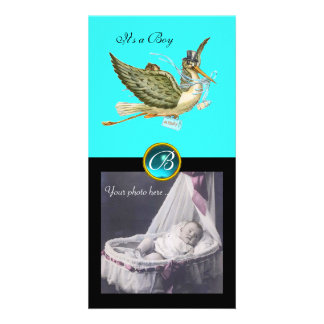 STORK BABY SHOWER SQUARE MONOGRAM ,aquamarine Photo Greeting Card