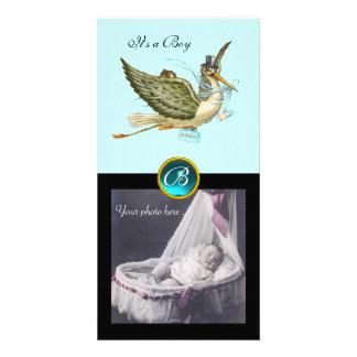 STORK BABY SHOWER SQUARE MONOGRAM ,aquamarine Picture Card