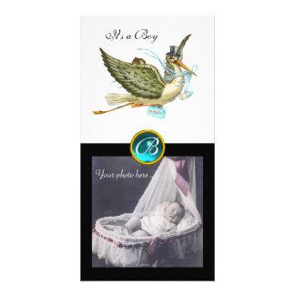 STORK BABY SHOWER SQUARE MONOGRAM aquamarine white Personalised Photo Card