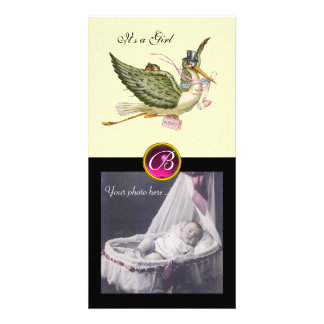 STORK BABY SHOWER SQUARE MONOGRAM ruby cream Personalized Photo Card