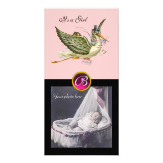 STORK BABY SHOWER SQUARE MONOGRAM ruby Personalized Photo Card