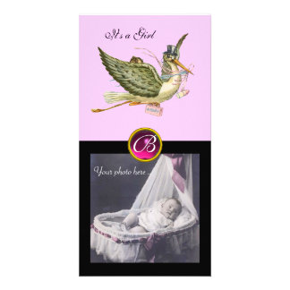 STORK BABY SHOWER SQUARE MONOGRAM ruby Photo Card Template