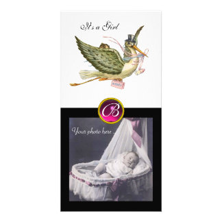 STORK BABY SHOWER SQUARE MONOGRAM ruby white Personalized Photo Card