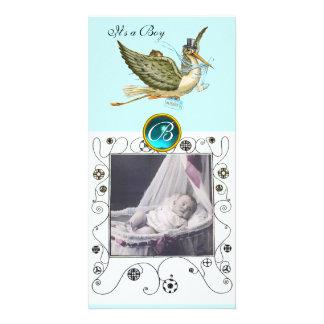 STORK BABY SHOWER SWIRLS MONOGRAM aquamarine Personalized Photo Card