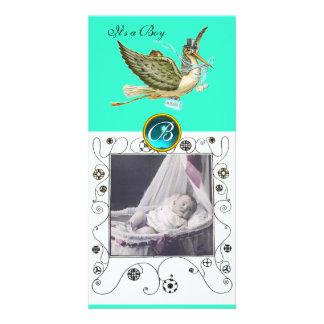 STORK BABY SHOWER SWIRLS MONOGRAM aquamarine Picture Card