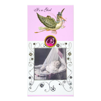 STORK BABY SHOWER SWIRLS MONOGRAM ruby white Customised Photo Card