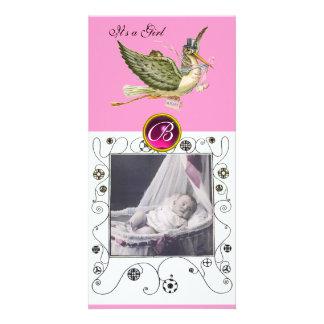 STORK BABY SHOWER SWIRLS MONOGRAM ,ruby white Customised Photo Card