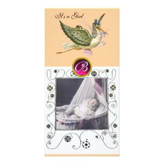 STORK BABY SHOWER SWIRLS MONOGRAM ,ruby white Customized Photo Card