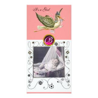 STORK BABY SHOWER SWIRLS MONOGRAM ,ruby white Photo Greeting Card