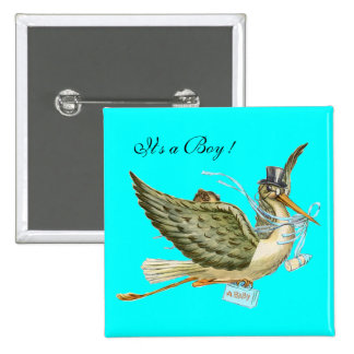 STORK BABY SHOWER ,turquase Buttons