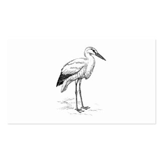 Stork Bird Black and White Cartoon Business Card Template