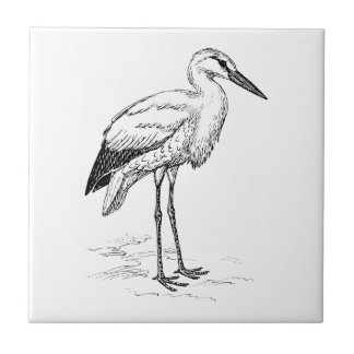 Stork Bird Black and White Cartoon Tile