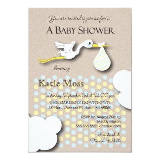 Stork   Boy Baby Shower 13 Cm X 18 Cm Invitation Card