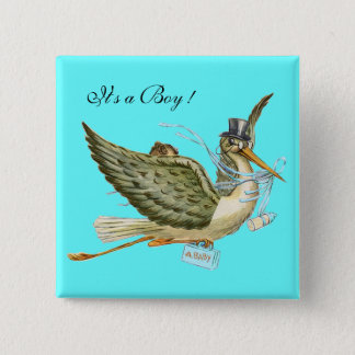 """STORK BOY BABY SHOWER ,Turquoise Blue """"It's a Boy"""" 15 Cm Square Badge"""