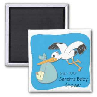 Stork carrying baby cartoon baby shower magnet