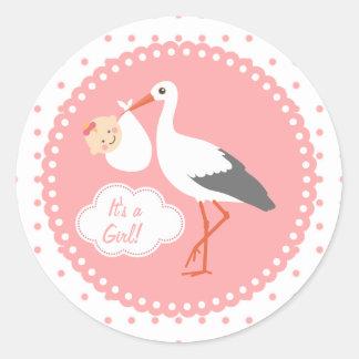Stork carrying cute baby girl Baby Shower Sticker