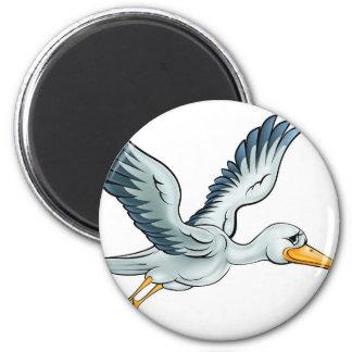 Stork Cartoon Bird 6 Cm Round Magnet