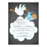 Stork Chalkboard African American Boy Baby Shower 5x7 Paper Invitation Card