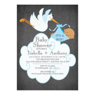 Stork Chalkboard African American Boy Baby Shower Custom Invitations