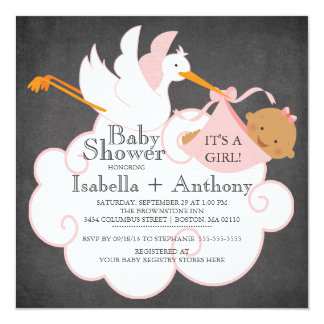 Stork Chalkboard African American Girl Baby Shower 5.25x5.25 Square Paper Invitation Card