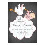 Stork Chalkboard GIRL Baby Shower Invitatation 5x7 Paper Invitation Card